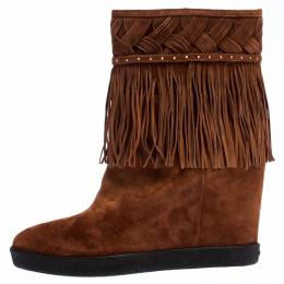 Le Silla Brown Suede Concealed Fringed Wedge Boots Size 37.5 267415
