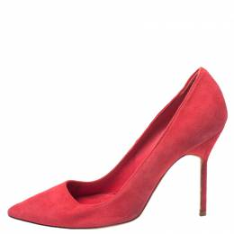 Manolo Blahnik Red Suede BB Pointed Toe Pumps Size 36 265413