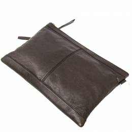 Balenciaga Brown Leather Classic Clip M Clutch Bag 266029