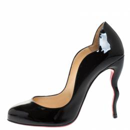 Christian Louboutin Black Patent Leather Wawy Dolly Pumps Size 38 265378