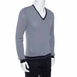 Dsquared2 Navy Blue Striped Knit Fitted Jumper L 264890