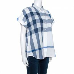 Burberry Brit Bicolor Exploded Check Cotton Half Sleeve Shirt M 266488