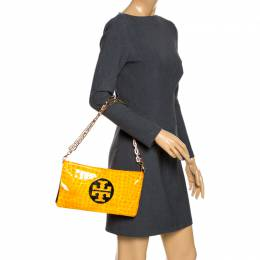 Tory Burch Yellow Croc Embossed Patent Leather Clutch Bag 265955