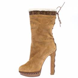 Christian Louboutin Brown Suede Oulanbator Platform Mid Calf Boots Size 39.5 265954