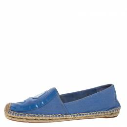 Tory Burch Blue Denim And Patent Leather Poppy Logo Espadrilles Size 38.5 264426