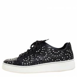 Alaia Black Laser Cut Leather Low Top Sneakers Size 36 266430