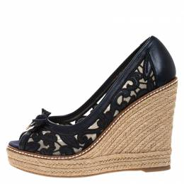Tory Burch Blue Lucia Lace And Leather Jackie Peep Toe Espadrilles Wedge Pumps Size 37.5 265508