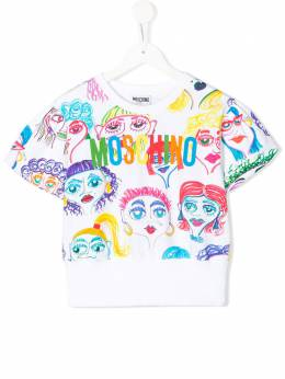 Moschino Kids TEEN cartoon faces print T-shirt HDF02JLDB34