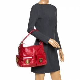 Marc Jacobs Red Leather Multi Pocket Shoulder Bag 266063