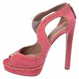 Azzedine Alaia Pink Suede And PVC Studded Peep Toe Platform Sandals Size 38 265482