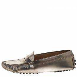 Tod's Metallic Leather Penny Loafers Size 36.5 261591