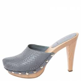Miu Miu Grey Leather Studded Platform Clogs Size 40 261278