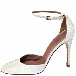 Alaia White Python Leather Ankle Strap Ankle Strap Pumps Size 39 261584