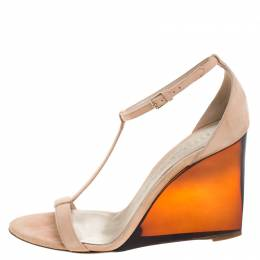 Burberry Prorsum Blush Pink Suede Leyburn Lucite Wedge Ankle Strap Sandals Size 40 262878