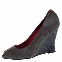 Le Silla Grey Suede leather Peep Toe Wedge Sandals Size 37.5 262453