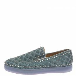 Christian Louboutin Blue Quilted Glitter Fabric Spike Pik Boat Slip On Sneakers Size 43.5 262519