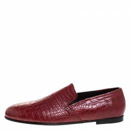 Dolce and Gabbana Red Crocodile Leather Smoking Slippers Size 44 263400
