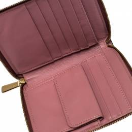 Coach Rose Pink Leather Small Zip Around Wallet 263673