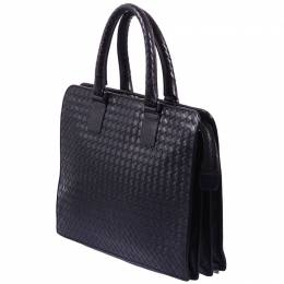 Bottega Veneta	 Black Intreciato Leather Briefcase
