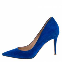 Gianvito Rossi	 Blue Suede Pointed Toe Pumps Size 39 262770