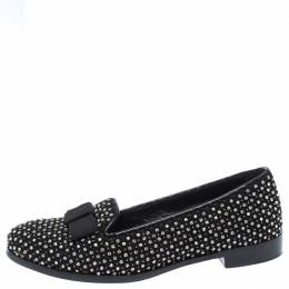 Sergio Rossi Black Crystal Embellished Fabric Bow Detail Flat Loafers Size 36.5 261833