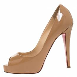 Christian Louboutin Beige Patent Leather Very Prive Peep Toe Pumps Size 36 262115