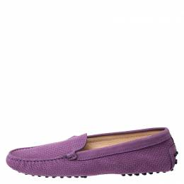 Tod's Purple Perforated Suede Loafers Size 40 259043