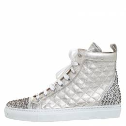 Le Silla Pearl Metallic White Quilted Leather and Suede Crystal Embellished Lace High Top Sneakers Size 36 260518
