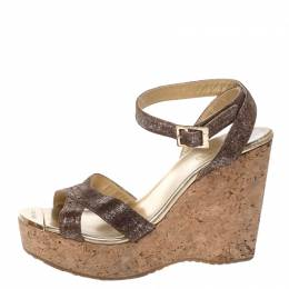 Jimmy Choo Gold/Brown Shimmer Lame Fabric Papyrus Cork Wedge Ankle Strap Sandals Size 37.5 261110