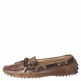 Tod's Brown Python Leather Bow Loafers Size 39.5 259051