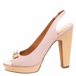 Marc by Marc Jacobs Blush Pink/Beige Leather Open Toe Slingback Sandals Size 38 260508