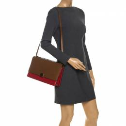 Celine Brown/Red Leather Large Classic Box Bag 260875