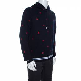 Dsquared2 Navy Blue Pine Tree Embroidered Knit Hooded Sweater L 258928