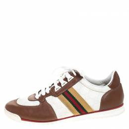 Gucci White Guccissima Canvas And Tan Leather Web Detail Sneakers Size 40.5 259508