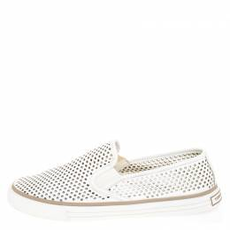 Tory Burch White Perforated Leather Miles Slip On Sneakers Size 39 261064