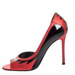 Laurence Dacade Black Patent And Metallic Red Leather D'orsay Peep Toe Pumps Size 37 258910