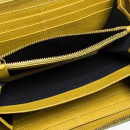 Dolce and Gabbana Paglia Yellow Leather Strappy Zip Around Wallet 260582