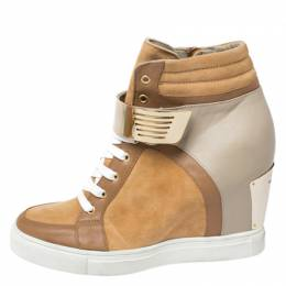 Le Silla Brown/Grey Leather In Chipow High Top Wedge Sneakers Size 40 260806