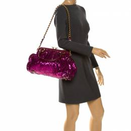 Marc Jacobs Fuchsia Sequin New York Rocker Stam Shoulder Bag 261174