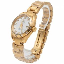 White Mother Of Pearl Seamaster Aquaterra Yellow Gold Diamond Women'S Watch 29MM Omega 260738