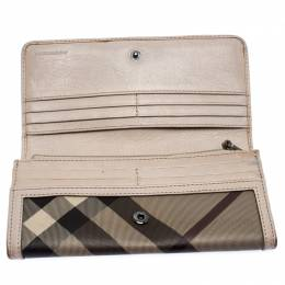 Burberry Grey Smoke Check PVC and Leather Flap Continental Wallet 260606