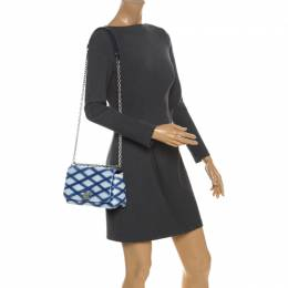 Louis Vuitton Blue/White Quilted Lambskin Leather GO-14 Malletage PM Bag 258759