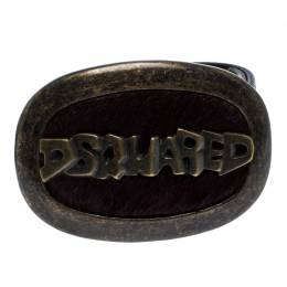 Dsquared2 Brown Leather Oval Logo with Fur Plaque Buckle Belt Small 260721