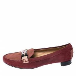 Tod's Red Suede Penny Loafers Size 40 258964