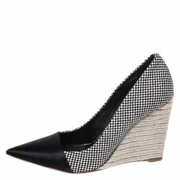 Christian Dior Monochrome Woven Canvas Dolce Vita Pointed Toe Espadrille Wedge Pumps Size 40 261131