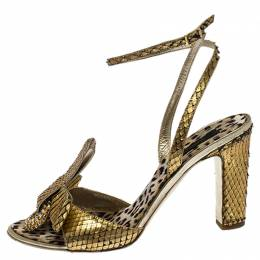 Roberto Cavalli Metallic Gold Python Leather Embellished Ankle Strap Sandals Size 38 257862