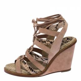 Paul Andrew Multicolor Suede And Python Leather Lace Up Wedge Sandals Size 40 257705