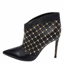 Gianvito Rossi Black Leather Studded Ankle Boots Size 37.5 258663
