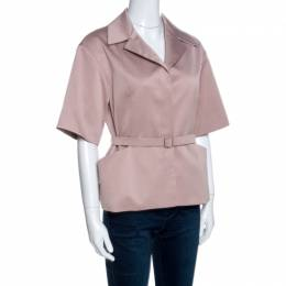 Christian Dior Blush Pink Silk Belted Top M 258635