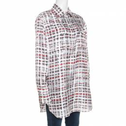 Burberry Multicolor Scribble Check Print Half Placket Shirt M 257996